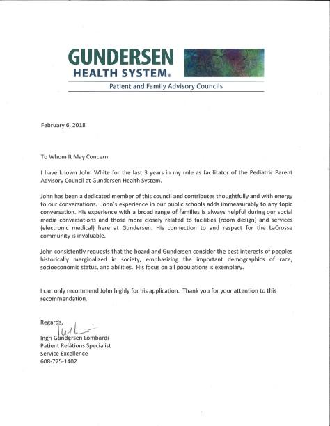 Ingri Gundersen letter